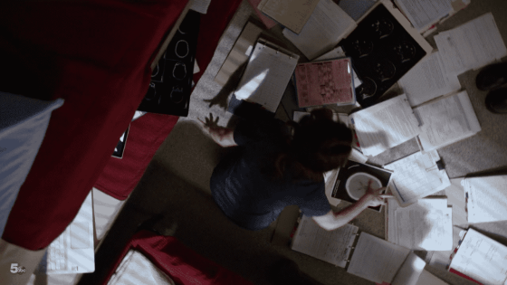 amelia looking at files