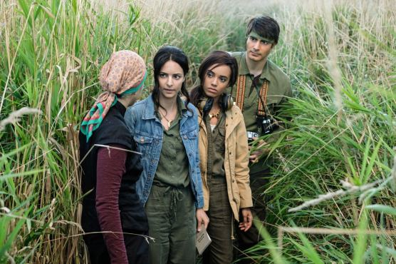 Pictured (L-R): Dianne Doan as Anh Ly, Tala Ashe as Zari, Maisie Richardson- Sellers as Amaya Jiwe/Vixen and Brandon Routh as Ray Palmer/Atom. Photo courtesy of DC Legends TV.