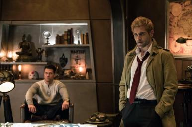 Nick Zano as Nate Heywood/Steel (left) and Matt Ryan as Constantine (right). Photo courtesy of DC Legends TV.