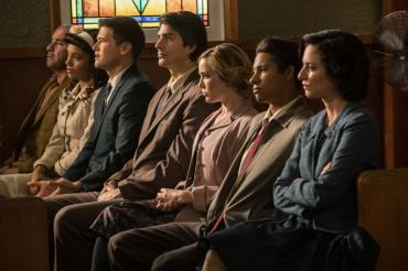 (L-R): Dominic Purcell as Mick Rory/Heat Wave, Maisie Richardson-Sellers as Amaya Jiwe/Vixe, Nick Zano as Nate Heywood/Steel Brandon Routh as Ray Palmer/Atom, Caity Lotz as Sara Lance/White Canary, Keiynan Lonsdale as Wally West and Tala Ashe as Zari. Photo courtesy of DC Legends TV.