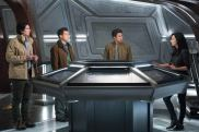 Pictured (L-R): Brandon Routh as Ray Palmer/Atom, Nick Zano as Nate Heywood/Steel, Keiynan Lonsdale as Wally West, and Tala Ashe as Zari. Photo courtesy of DC Legends TV.