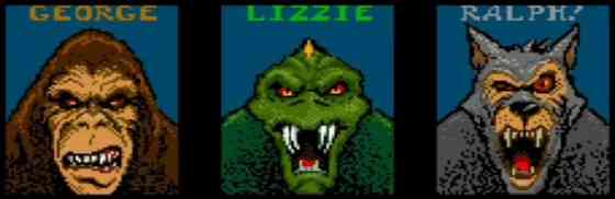 The characters from the original Rampage arcade game