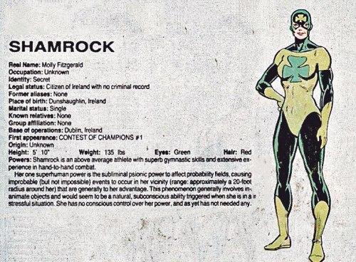 Original 1982 Marvel Shamrock Irish Superhero Design
