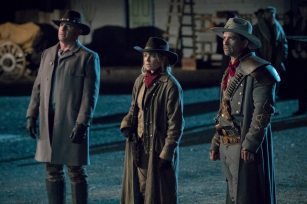 Pictured (L-R): Dominic Purcell as Mick Rory/Heat Wave, Caity Lotz as Sara Lance/White Canary and Johnathon Schaech as Jonah Hex. Photo courtesy of DC Legends TV.