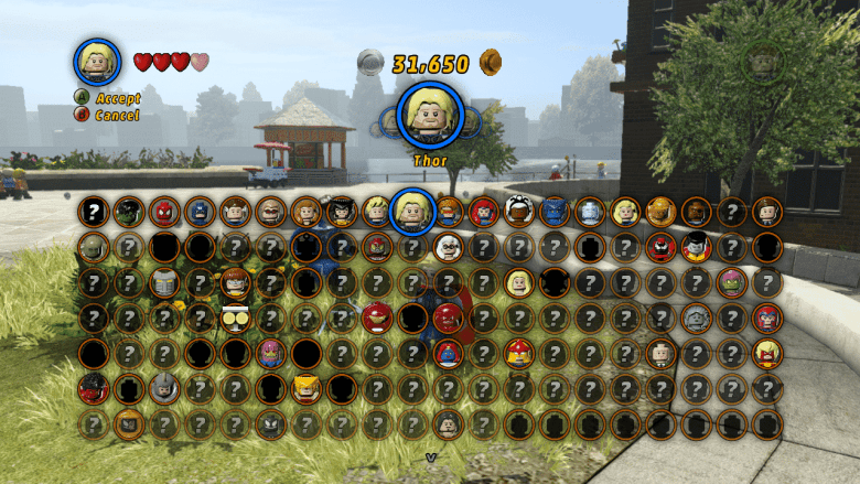 Some unlocked characters for LEGO Marvel Superheroes