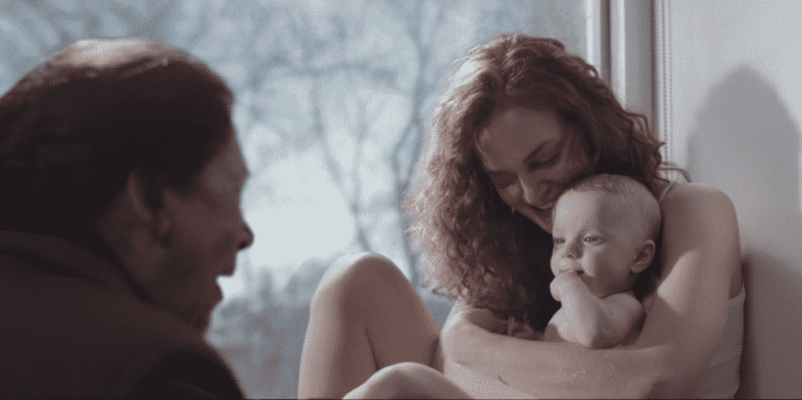 Aunt Lydia, Janine, and baby Angela on The Handmaid's Tale.