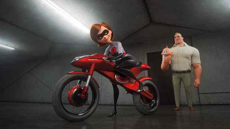 Elastigirl with her new Elasti-bike in Incredibles 2.