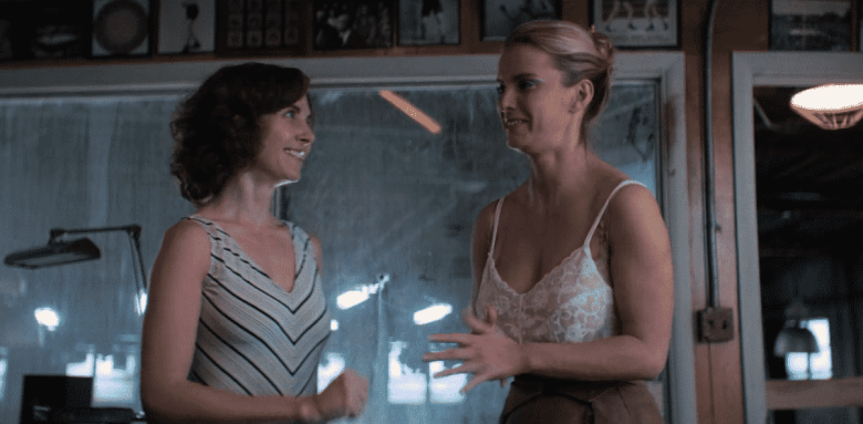 Alison Brie as Ruth and Betty Gilpin as Debbie on GLOW.
