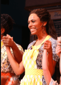 Robinson smiles in first her bow with Waitress. Photo by Walter McBride, BroadwayWorld.