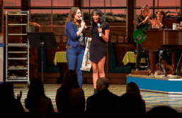 Bareilles and Robinson hosting Waitress Karaoke on August 23, 2018. Photo by Jennifer Broski, BroadwayWorld.