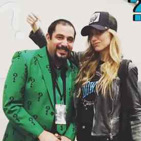 Resident Zombie Expert Jon Hicks in Riddler Cosplay with Jess Macallan of Legends of Tomorrow Photo Source: Jess Macallan SnapChat