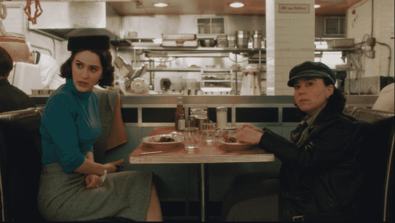 Midge and Susie in the diner on The Marvelous Mrs. Maisel