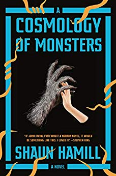 Cover of A Cosmology of Monsters by Shaun Hamill. It features a werewolf handing entwining with a human hand.