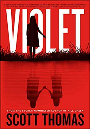 The cover art for Violet by Scott Thomas, which features a silhouette of a little girl standing by a lake and two silhouettes of little girls reflected on the surface of the lake.