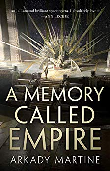 A Memory Called Empire cover, which features an enormous throne on a stone dais.