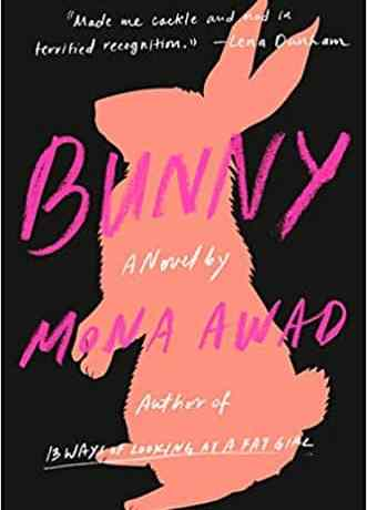 The cover of Bunny has a pink rabbit on a black cover.