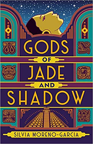 Cover art for Gods of Jade Shadow, which has a Mayan pyramid depicted in art deco style