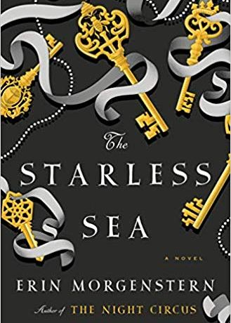 Cover art for The Starless Sea, which features a variety of ribbons and keys