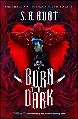 The cover art for Burn the Dark features a woman with a blue mohawk haircut standing in front of a red demon with large claws.