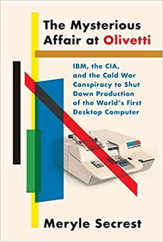 Cover art for The Mysterious Affair at Olivetti which features an early Olivetti computer.