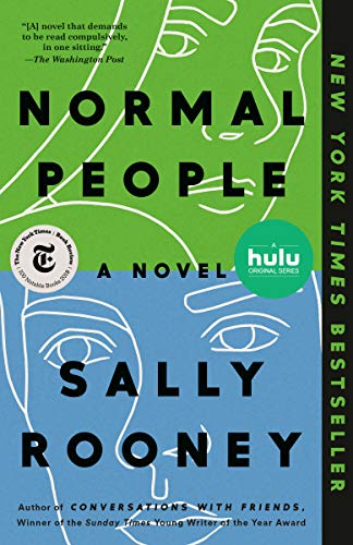 Cover art for the American edition of Normal People, which is green on the top half, blue on the bottom half, and features detailed outlines of a male and female face.