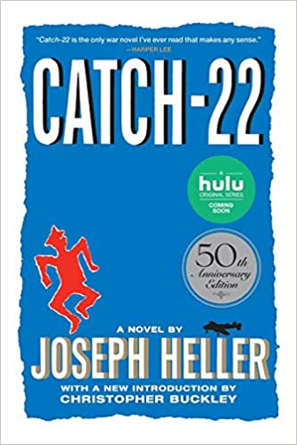 The cover art for Catch-22 which features a red silhouette of a man against a blue background.
