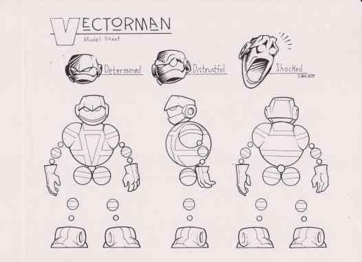 Vectorman Genesis Game Turns 25. Rick Schmitz's character turn sheet helps animators.