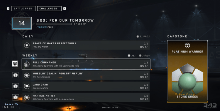 A screenshot of Halo Infinite's daily and weekly challenges.