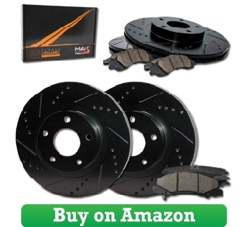 Max Brakes E-Coated Slotted Drilled Rotors w Ceramic Brake Pads