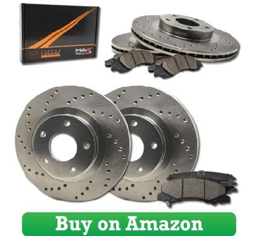 Max Brakes Premium Slotted Drilled Rotors w Ceramic Brake Pads