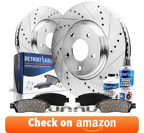 Detroit Axle - Front Drilled & Slotted Disc Rotors Brake Pads - 6pc Set review
