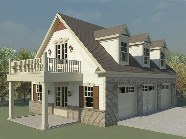 Three-Car Garage Loft Plan With Future
