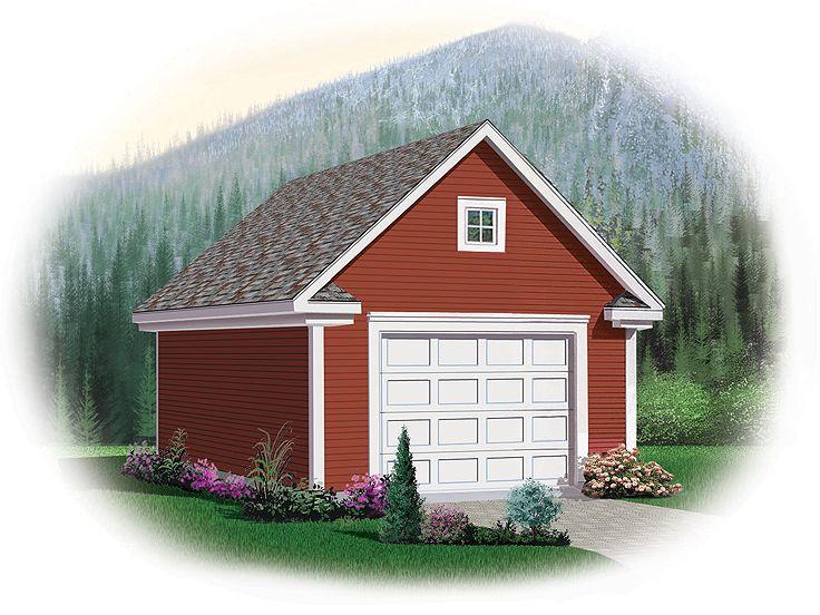Detached One-Car Garage Loft Plan