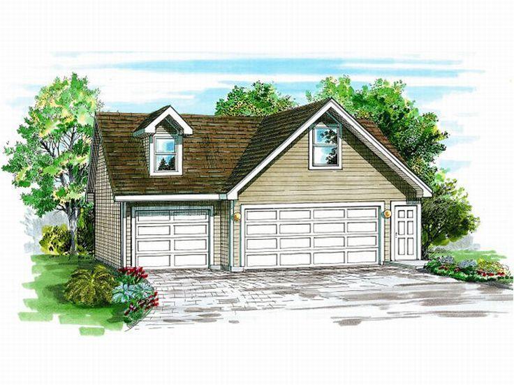 Detached Three-Car Garage Plan With