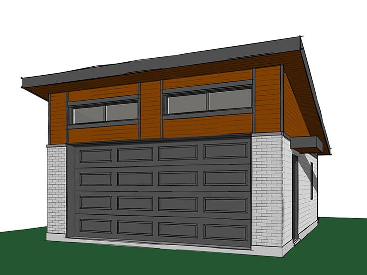 Modern 2-Car Garage Plan # 028G