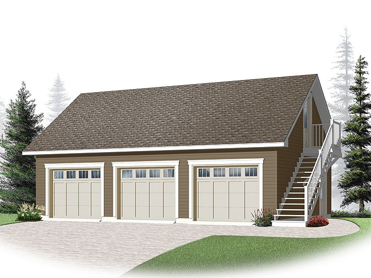 3-Car Garage Loft Plan With Cape