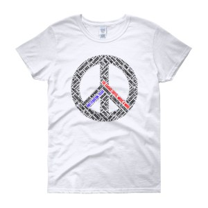 Women's short sleeve Peace t-shirt, light colors