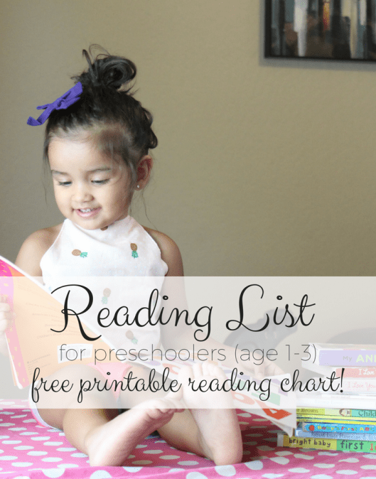 Reading List for Preschoolers (ages 1-3)! With a free printable reading chart!