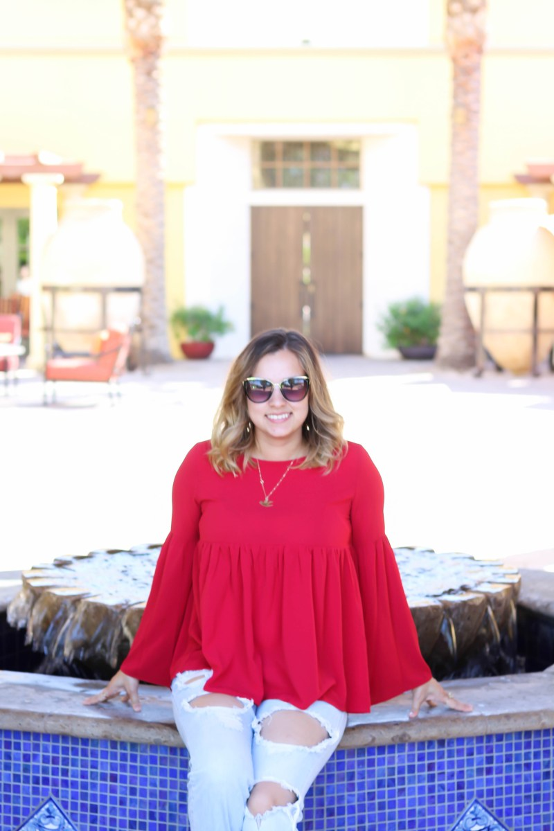 red top, mama bird necklace, omni resort, travel style