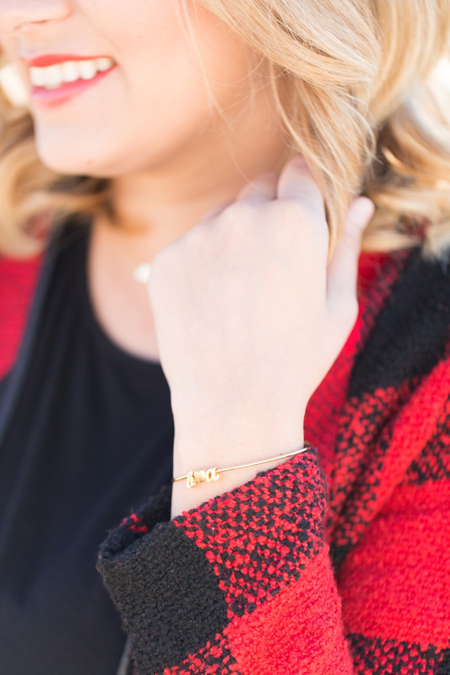 The Holidays with Casi // cupcakeMAG // RubyClaire Boutique Christmas collection // personalized B loves A bangle from Brin and Bell