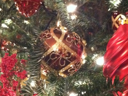 The ornaments used were beautiful and each had to be individually wired to the tree