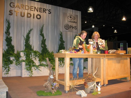 Demonstrating at the Philadelphia Flower Show with my loyal helper, Gretchen