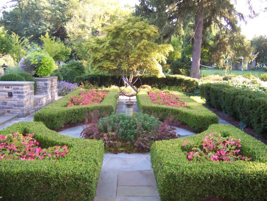 One garden that I worked on similar to a knot that we filled with Dragon Wing Begonias