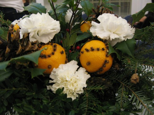 Pomanders in arrangement
