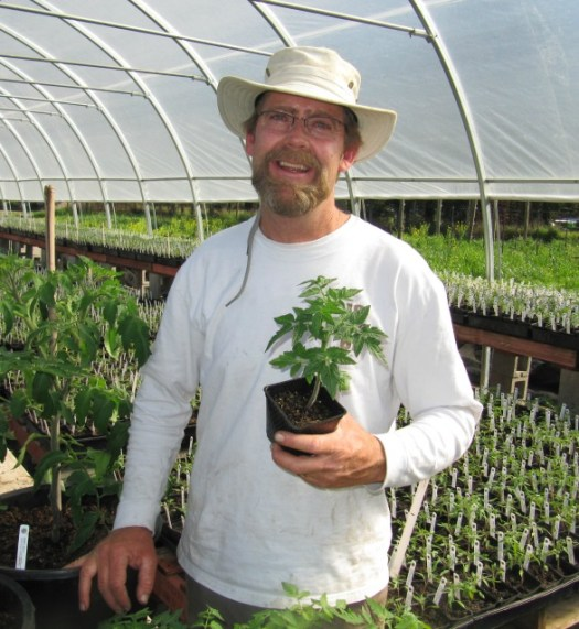 Brad Gates in his extensive greenhouses