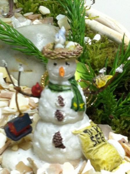 I used this Christmas tree ornament for a tiny snowman