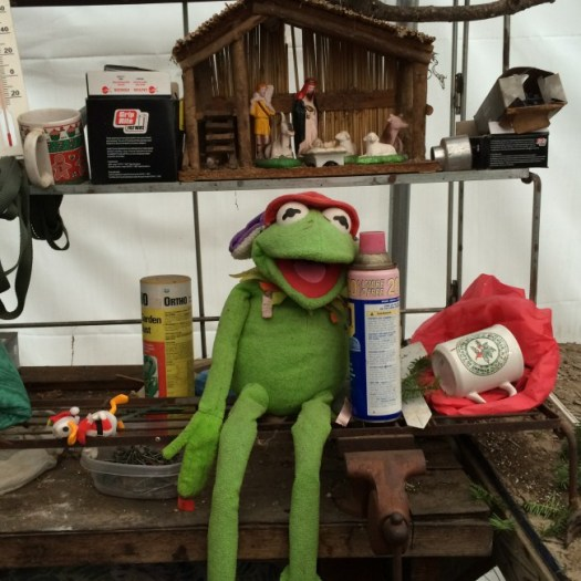Everyone needs a Kermit the frog mascot on their work table