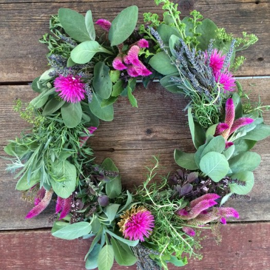 Herbal wreath with finishing touches