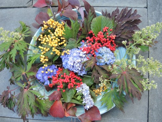 I added berries and Autumn Bride Coral Bells on the right hand side