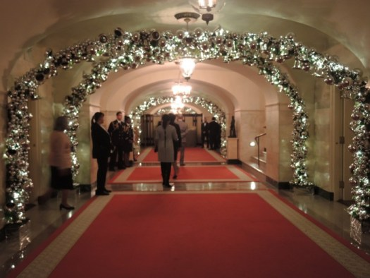 When you enter the center hall in the lower level of the White House, the atmosphere is magical with all the hanging silver bells